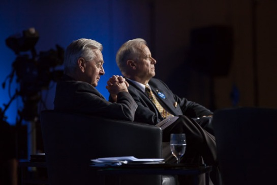 Reform Party founder Preston Manning listens to a speech with Jay Hill, the Conservatives' fearsome former whip. Photo by Alex Tetreault.